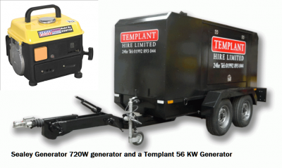 Sealey Generator 720W generator and a Templant 56 KW Generator
